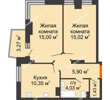 2 комнатная квартира 53,39 м² в ЖК Сердце Ростова 2, дом Литер 3 - планировка