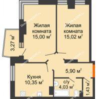 2 комнатная квартира 53,39 м² в ЖК Сердце Ростова 2, дом Литер 5 - планировка
