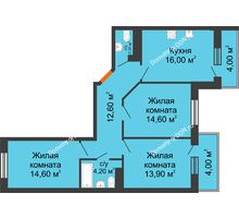 3 комнатная квартира 82,5 м² в ЖК Я, дом  Литер 2 - планировка