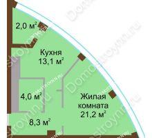 1 комнатная квартира 48,6 м² в ЖК Монолит, дом № 89, корп. 1, 2 - планировка