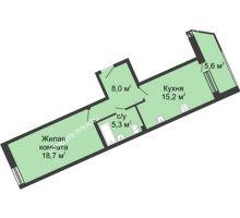 1 комнатная квартира 52,7 м² в ЖК Монолит, дом № 89, корп. 3 - планировка