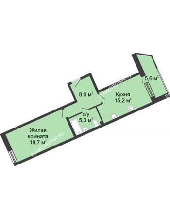 1 комнатная квартира 52,7 м² в ЖК Монолит, дом № 89, корп. 3