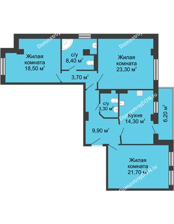 3 комнатная квартира 106,2 м² - ЖК Дом на Береговой