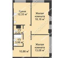 2 комнатная квартира 60,33 м² в ЖК Караваиха, дом № 5 - планировка