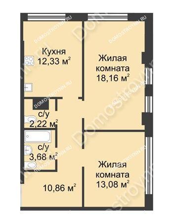 2 комнатная квартира 60,33 м² в ЖК Караваиха, дом № 5
