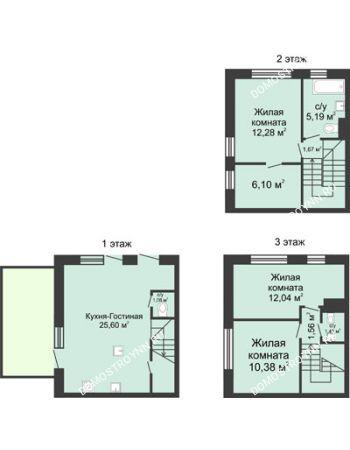 4 комнатная квартира 91 м² в КП Баден-Баден, дом № 44 (от 73 до 105 м2)