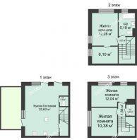 4 комнатный таунхаус 91 м² в КП Баден-Баден, дом № 44 (от 73 до 105 м2) - планировка