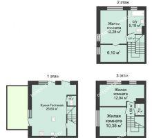 4 комнатная квартира 91 м² в КП Баден-Баден, дом № 26 (от 73 до 105 м2) - планировка