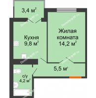 1 комнатная квартира 35,55 м² в ЖК Южный Город, дом № 6.13 - планировка