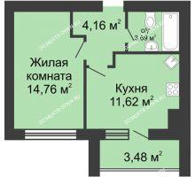 1 комнатная квартира 0 м² в ЖК Парк Горького, дом 62/2, №4 - планировка