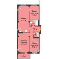 4 комнатная квартира 85,6 м² в ЖК Тихие зори, дом № 4, блок-секция 1,2,3,4 - планировка