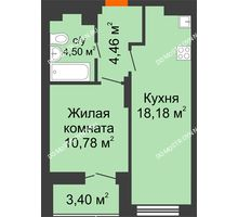 1 комнатная квартира 39,62 м² в ЖК КМ Анкудиновский парк, дом № 20 - планировка