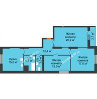 3 комнатная квартира 89,2 м², ЖК Космолет - планировка