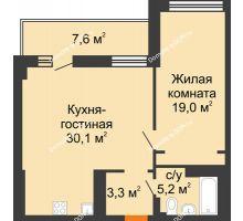 2 комнатная квартира 61,4 м² - ЖК Дом на 17-й Линии, 3