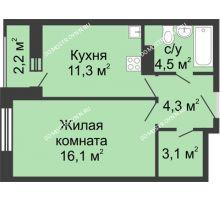1 комнатная квартира 40,4 м² в ЖК Октава, дом №2 - планировка