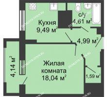 1 комнатная квартира 40,79 м², ЖК Гелиос - планировка