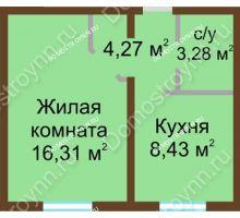1 комнатная квартира 32,29 м² в ЖК Бурнаковский, дом № 24