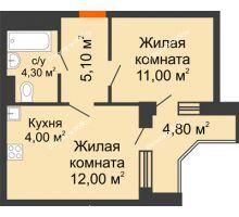 2 комнатная квартира 38,8 м² в ЖК Династия, дом Литер 2 - планировка