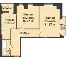 2 комнатная квартира 70,27 м², ЖК Штахановского - планировка