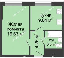 1 комнатная квартира 34,5 м² - ЖК Алый Парус
