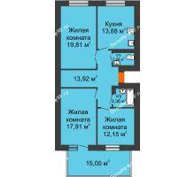 3 комнатная квартира 88,11 м² в ЖК Живём, дом квартал 3, дом № 2 - планировка