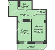 1 комнатная квартира 52,3 м², ЖК Крылья Ростова - планировка