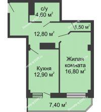 1 комнатная квартира 53,1 м², ЖК Крылья Ростова - планировка