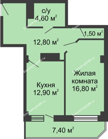 1 комнатная квартира 53,1 м² - ЖК Крылья Ростова