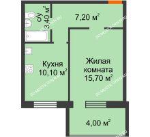 1 комнатная квартира 38,4 м² в ЖК Удачный 2, дом № 1 - планировка