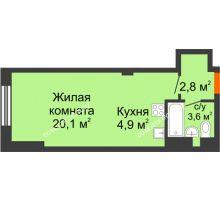 Студия 27,5 м² в ЖК Тихая Гавань на Якорной, дом № 1 - планировка