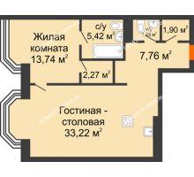 2 комнатная квартира 66,24 м², ЖК Дом на Гребешке - планировка