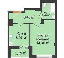 1 комнатная квартира 34 м², ЖК Дом на 14-й Линии - планировка