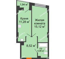 1 комнатная квартира 39,97 м² в ЖК Рубин, дом Литер 3 - планировка