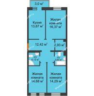 3 комнатная квартира 83,42 м² в ЖК Новоостровский, дом № 2 корпус 1 - планировка