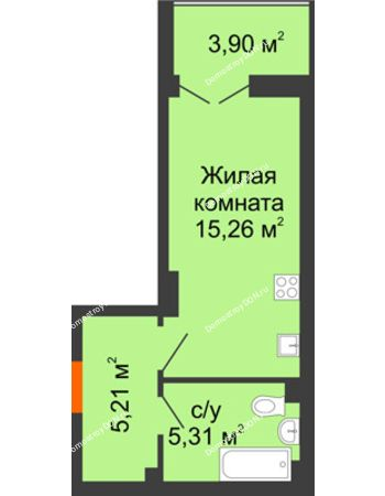 Студия 27,73 м² в ЖК Аврора, дом № 3