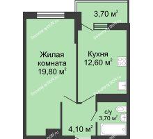 1 комнатная квартира 42,6 м² в ЖК Первый, дом Литер 1 - планировка