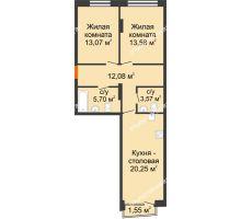2 комнатная квартира 68,72 м², Клубный дом на Ярославской - планировка