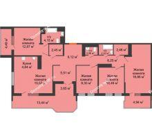 4 комнатная квартира 54,88 м² в ЖК Все свои, дом Литер 5 - планировка