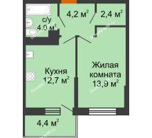 1 комнатная квартира 38,5 м² в ЖК Отражение, дом Литер 2.2 - планировка