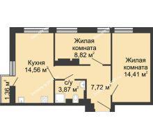 2 комнатная квартира 49,78 м², ЖК Соборный - планировка