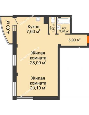 2 комнатная квартира 68,6 м² - ЖК Южная Башня