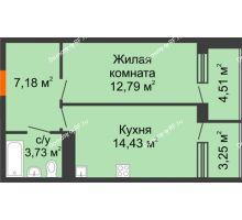 1 комнатная квартира 46,1 м², ЖК Горизонт - планировка