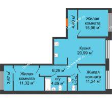 3 комнатная квартира 75,94 м² в Микрорайон Видный, дом ГП-20 - планировка