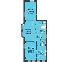 3 комнатная квартира 101,77 м² в ЖК Дом на Провиантской, дом № 12 - планировка
