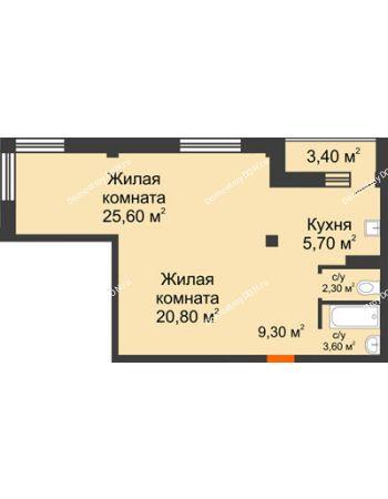 2 комнатная квартира 69 м² - ЖК Южная Башня