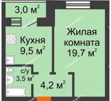 1 комнатная квартира 38,4 м² в ЖК Видный, дом № 2