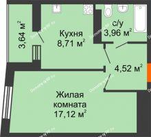1 комнатная квартира 36,13 м², ЖК Сограт - планировка