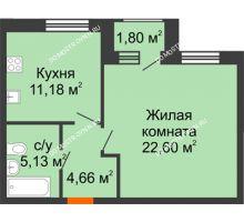 1 комнатная квартира 44,47 м² - Дом на Чаадаева