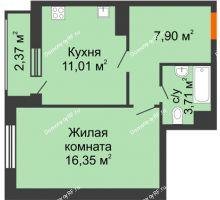 1 комнатная квартира 39,68 м² в ЖК intellect-Квартал (Интеллект-Квартал), дом 2 секция - планировка
