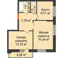 2 комнатная квартира 54,29 м², Жилой дом: ул. Сухопутная - планировка